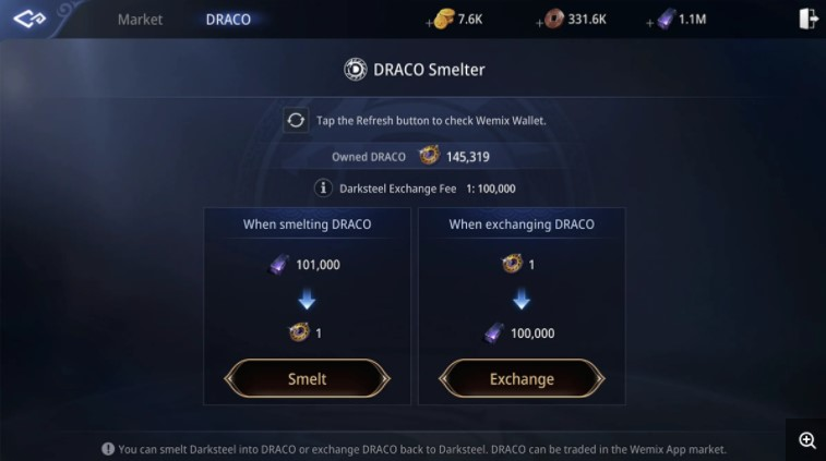 Mir4 Draco Darksteel Takası